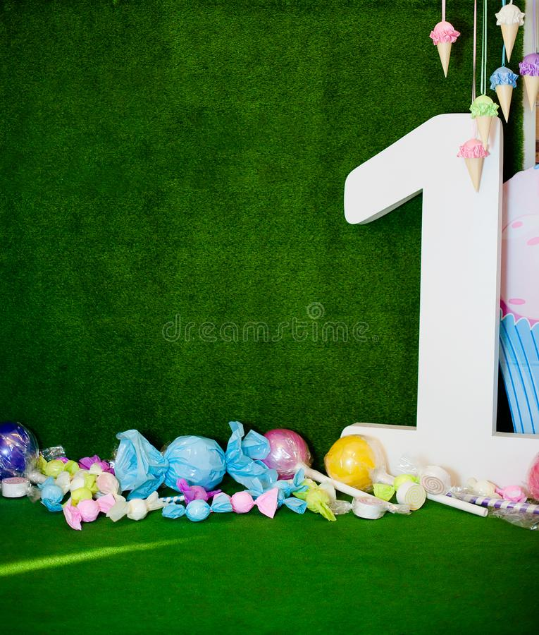 First baby birthday party concept. Table for kids and decor items in bright pink and blue colors.  royalty free stock images