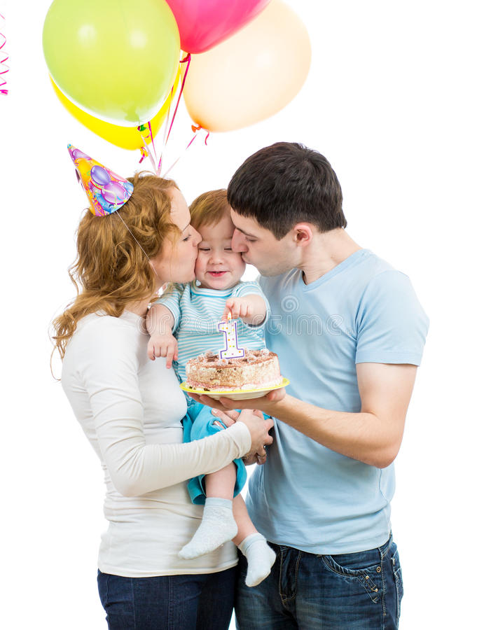 First baby birthday. Young family celebrating first baby birthday royalty free stock photos