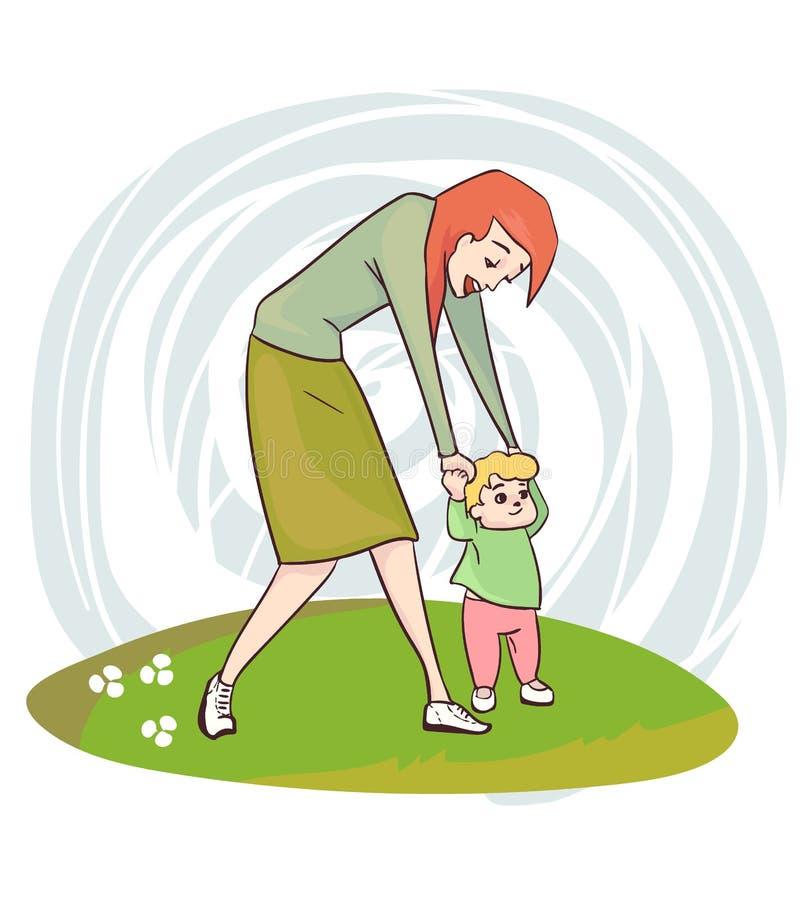 First baby steps mother vector illustration clip art vector illustration