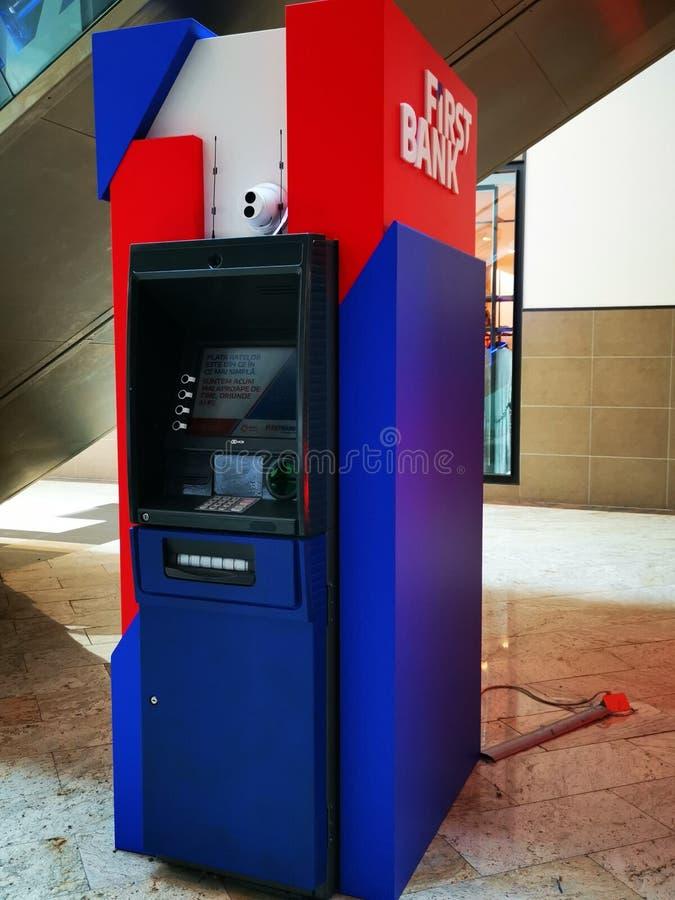 First Bank ATM at mall Baneasa Shopping City, Romania. royalty free stock photography