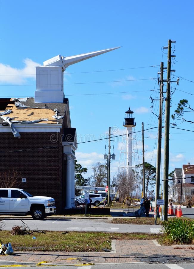 Broken Steeple due to hurricane damage. The First Baptist Church of Port St. Joe Florida suffered extensive damage due to Hurricane Michael stock photos