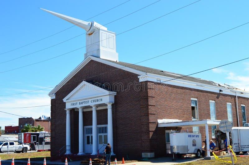 Broken Steeple due to hurricane damage. The First Baptist Church of Port St. Joe Florida suffered extensive damage due to Hurricane Michael stock image
