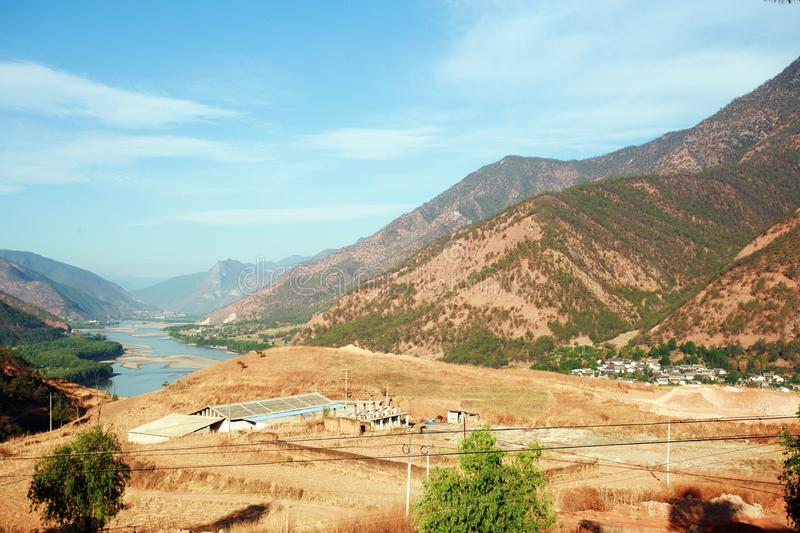 The first bay of the Changjiang River. The first bay of the Yangtze River: between Shigu Town, Lijiang, northwest of Yunnan province and Sha song Bi Village in stock photography