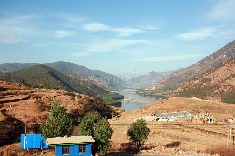 The first bay of the Changjiang River. The first bay of the Yangtze River: between Shigu Town, Lijiang, northwest of Yunnan province and Sha song Bi Village in stock photos