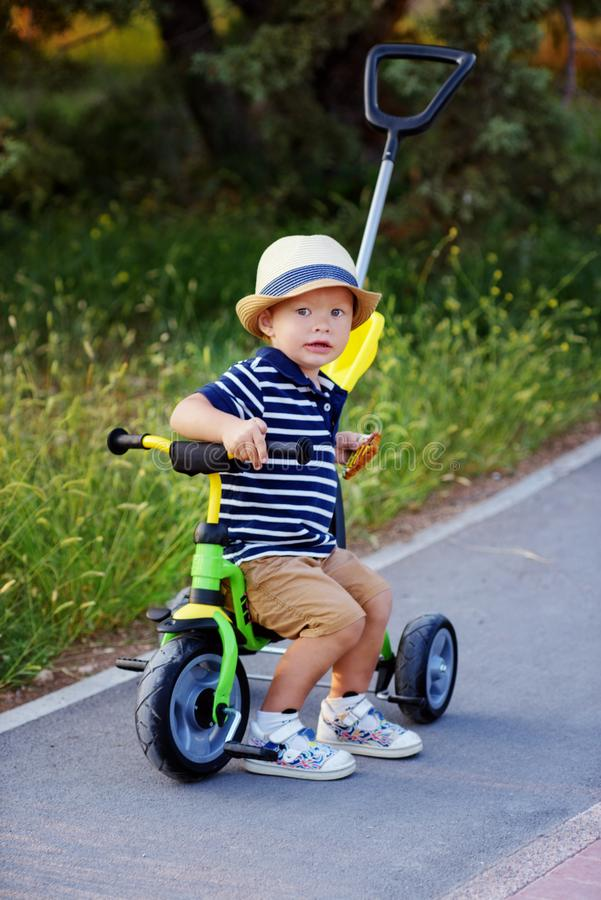First bike for toddler boy royalty free stock images