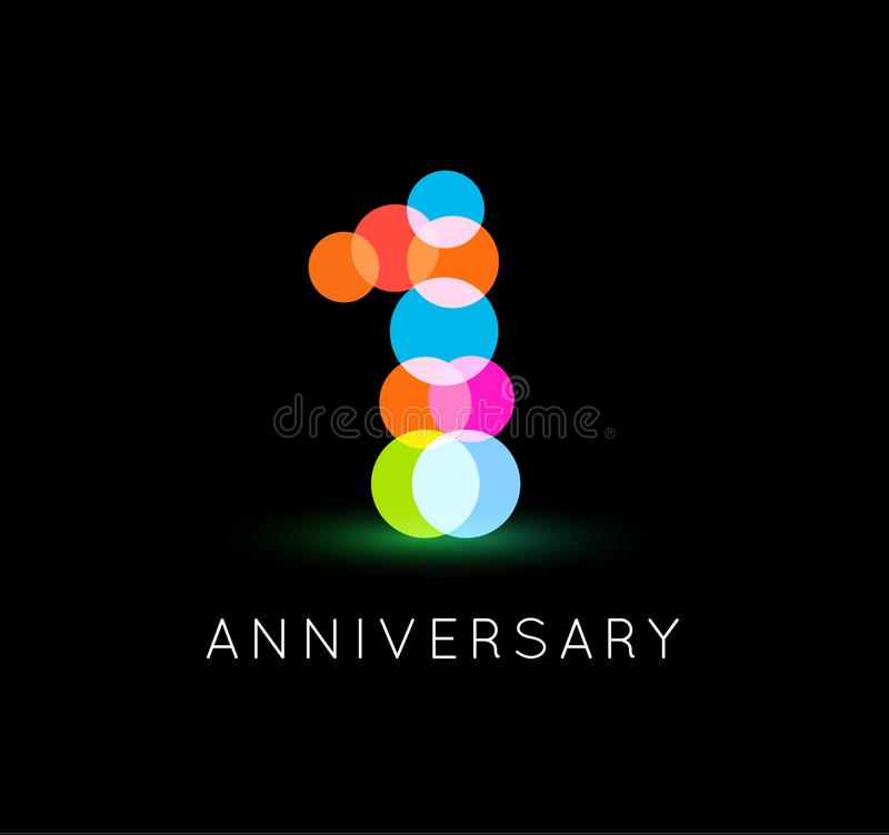 First birthday abstract icon. One number, colorful confetti, colored balloons, bright lights logo template. Anniversary vector illustration