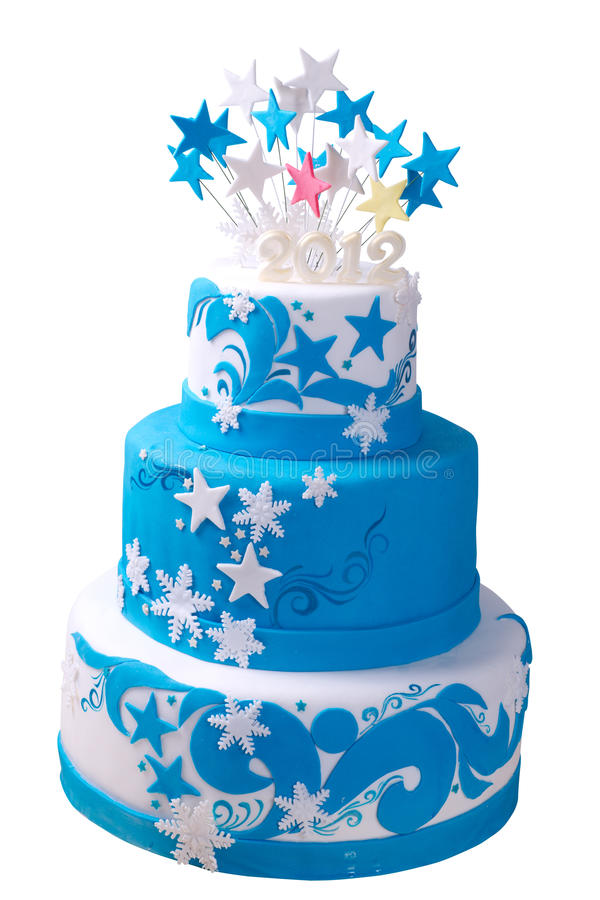 Cake Decorated With White And Blue Frosting Sprinkles Colored Ribbon Decorations Isolated On Background Copy E