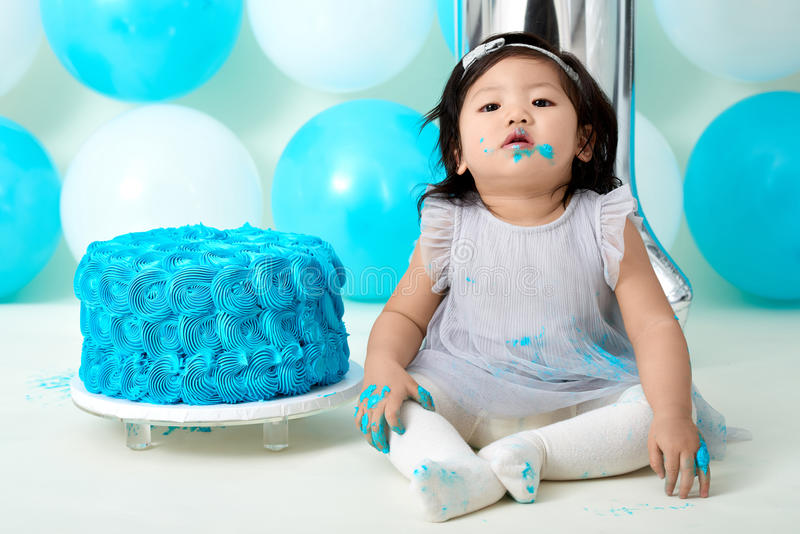 First Birthday Cake Smashing Stock Photo Image Of Asian Birthday