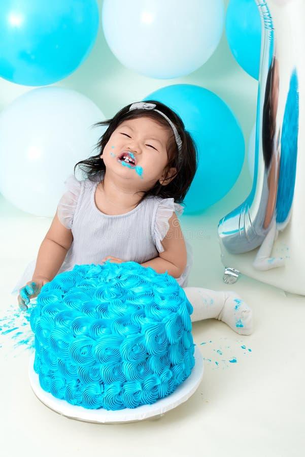 First birthday cake smashing royalty free stock photos
