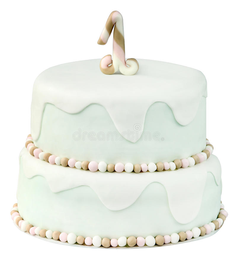 First birthday cake on white background.  royalty free stock images