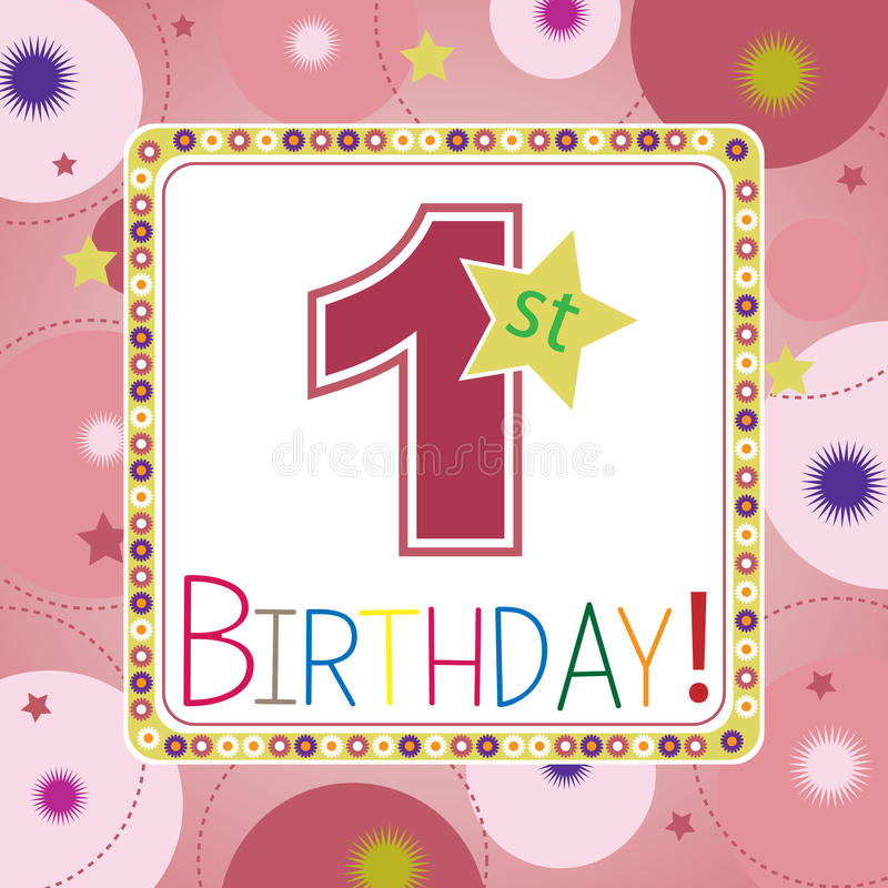 First birthday card stock illustration