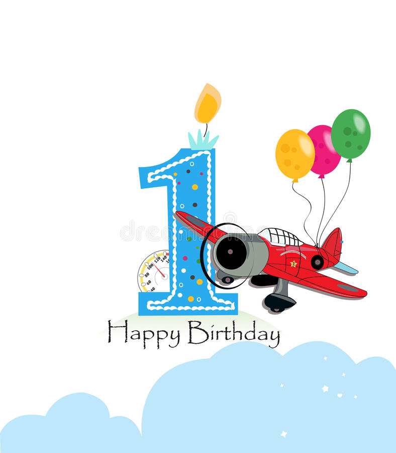 First birthday greeting card. Air plane and balloon happy birthday boy greeting card. First birthday greeting card. Air plane and balloon happy birthday boy royalty free illustration