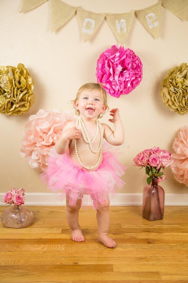 First Birthday. Little girl 1st birthday cakesmash royalty free stock photos