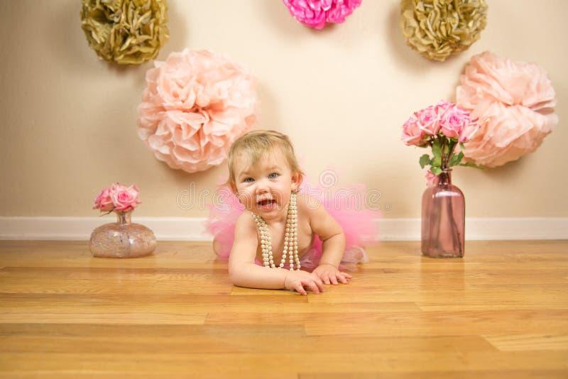 First Birthday. Little girl 1st birthday cakesmash royalty free stock image