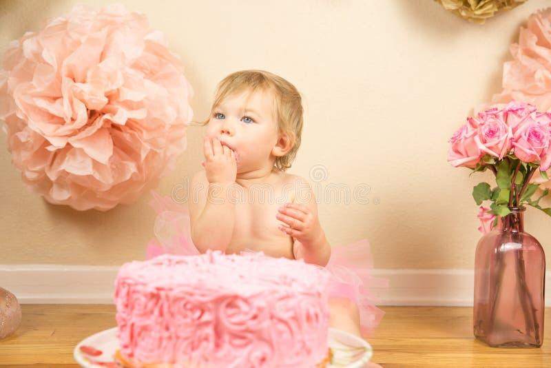 First Birthday. Little girl 1st birthday cakesmash royalty free stock photo