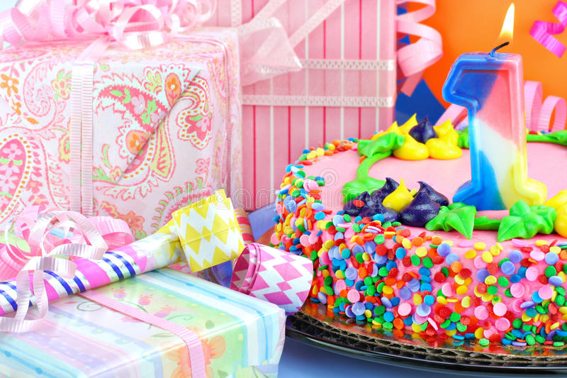 First Birthday Party Cake stock photography