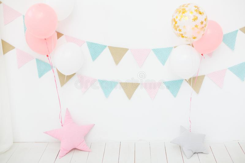 First birthday party for little girl princess stock photos