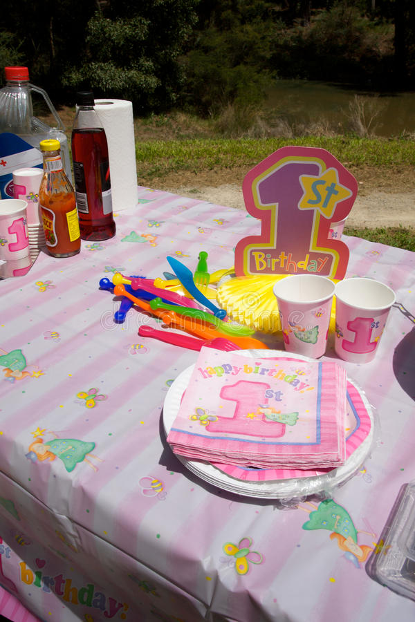 First Birthday party in a park stock photography