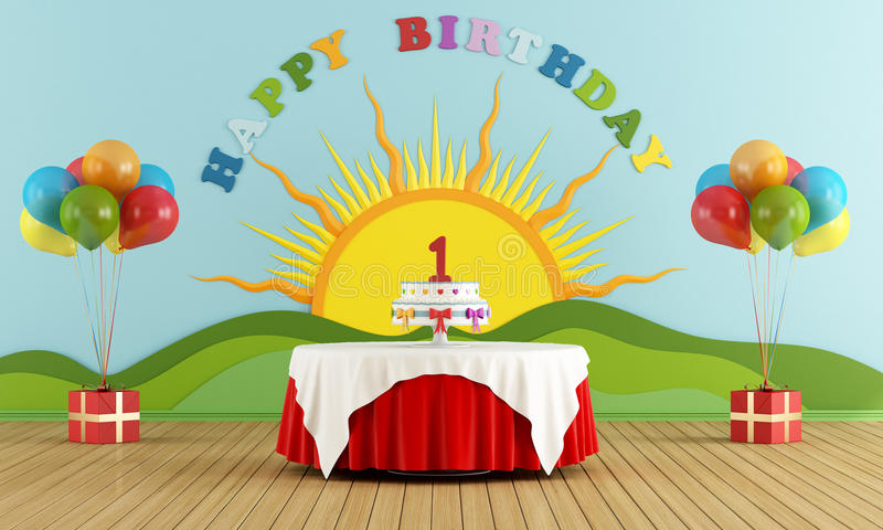 First Birthday party stock illustration Illustration of tablecloth