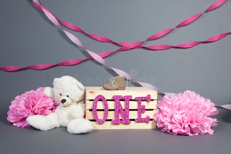 First Birthday. Photography set up for first birthday for a girl royalty free stock image
