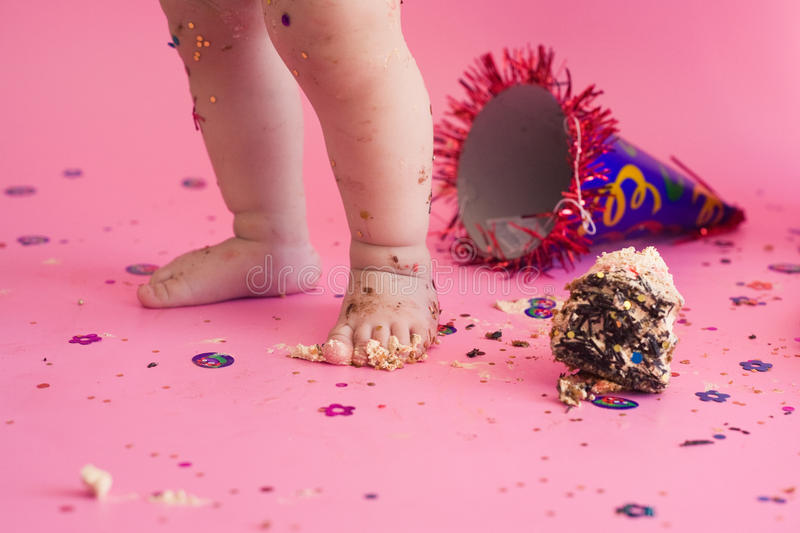 First birthday smash the cake. Party. Pink background royalty free stock image