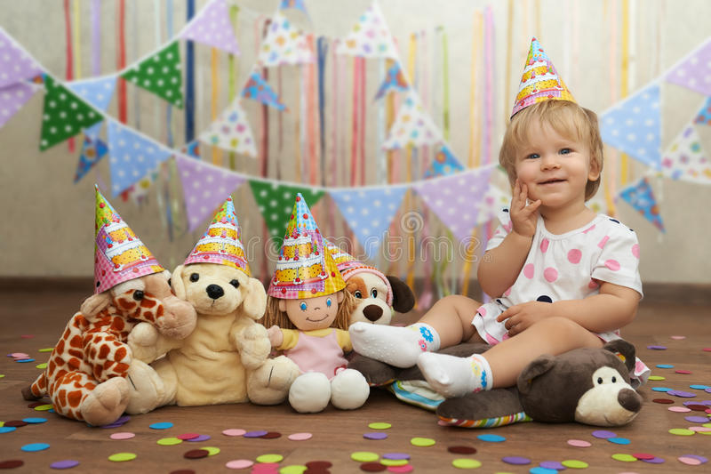 First birthday toy party with plush friends.  stock photos