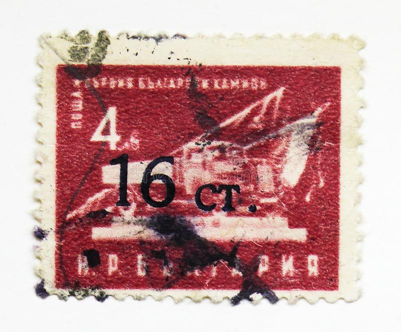 First Bulgarian truck, Economy serie, circa 1951. MOSCOW, RUSSIA - JULY 15, 2019: Postage stamp printed in Bulgaria shows First Bulgarian truck, Economy serie stock photos