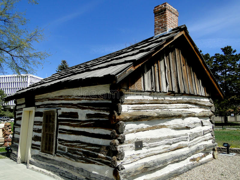 First Cabin in Boise, Idaho. The O'Farrell Cabin was the first house constructed in Boise, Idaho during 1863. The tiny landmark cabin has been preserved stock photo