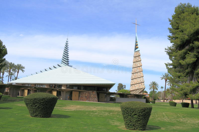 USA, AZ/Phoenix: Frank Lloyd Wright Church and Bell Tower stock photo