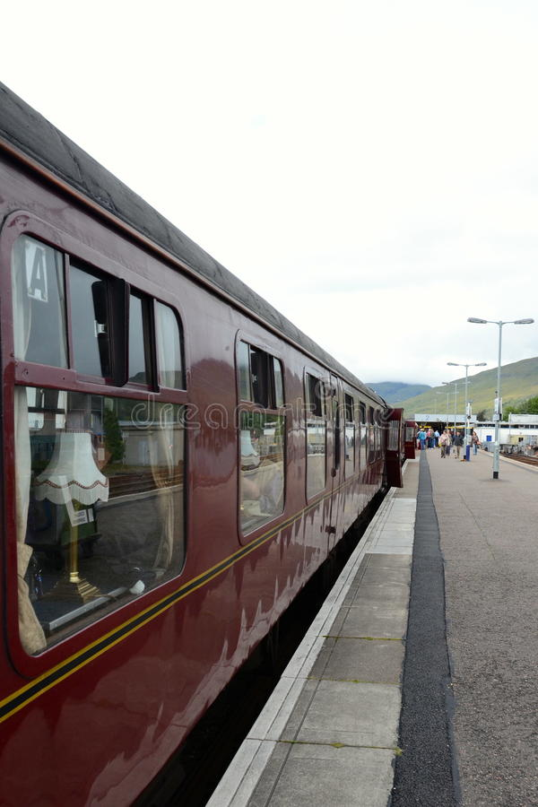 Jacobite steam train at Fort William station. The first class carriage of the Jacobite steam train 'Black 5' at Fort William station. The Jacobite runs on the royalty free stock photography