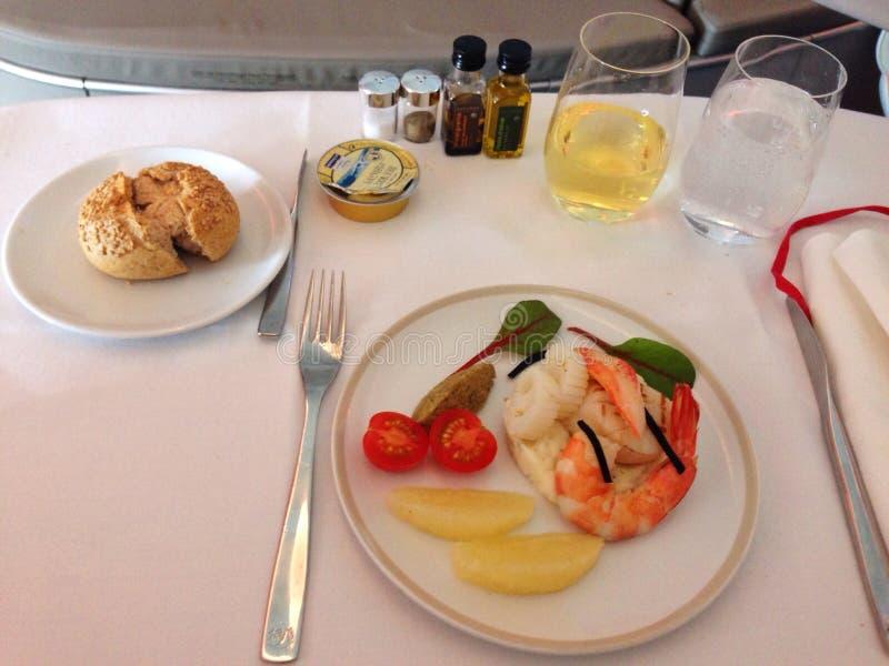 First class flight. First course of a first class meal stock photos