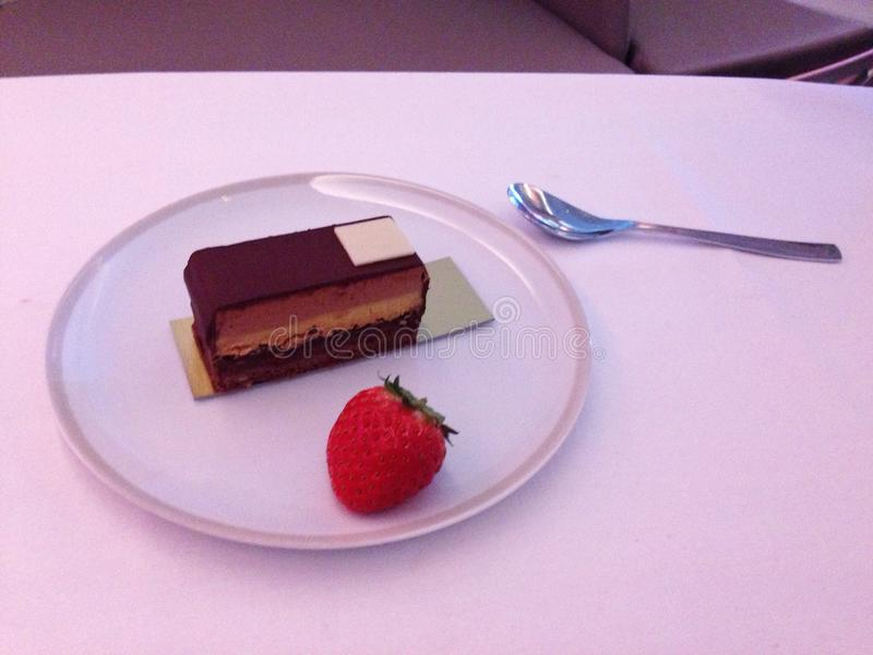First class flight. Dessert course of a first class meal royalty free stock image