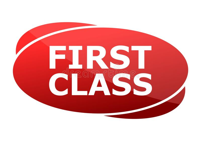 First Class red sign stock illustration