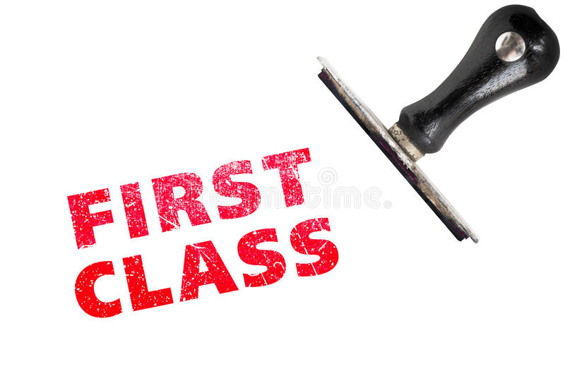 First Class Rubber Stamps. First class stamp text with stamper royalty free stock image