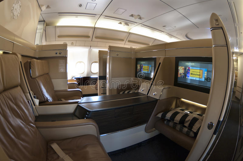 First class seats in an airbus. Commercial airbus with first class seats stock photography