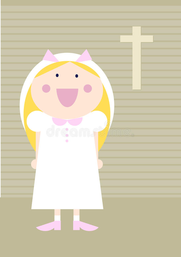 First communion. Colorful cartoon illustration of a happy girl celebrating first communion royalty free illustration