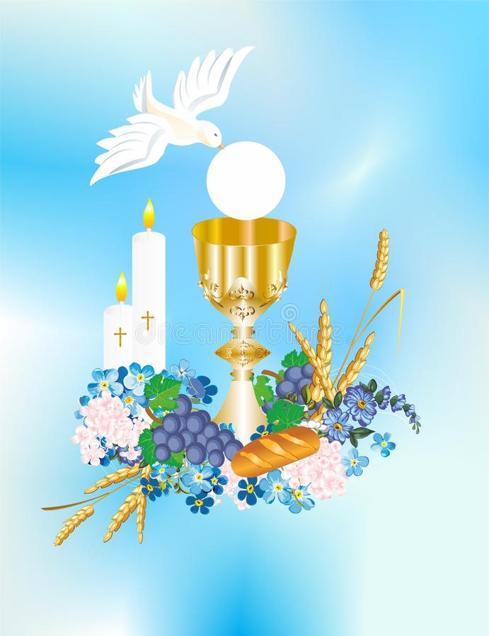 First communion. Background with characteristic symbols of Holy Communion vector illustration