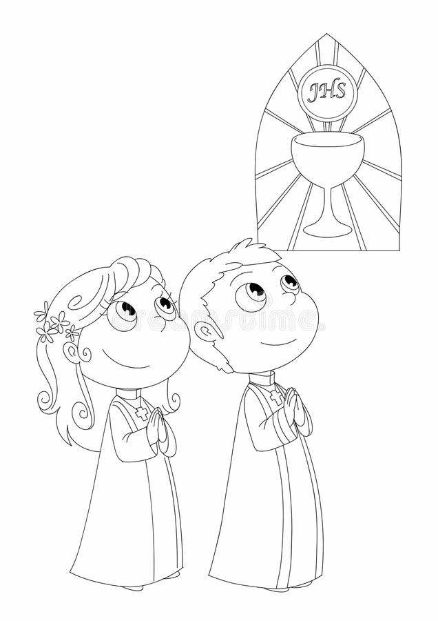 Coloring First Communion royalty free illustration