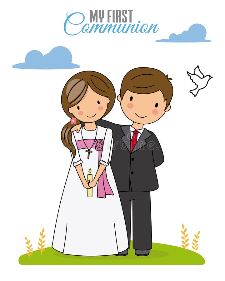 First communion card. Boy and girl dressed in communion stock illustration