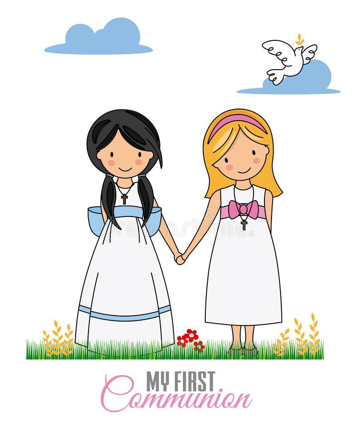 First communion card stock illustration
