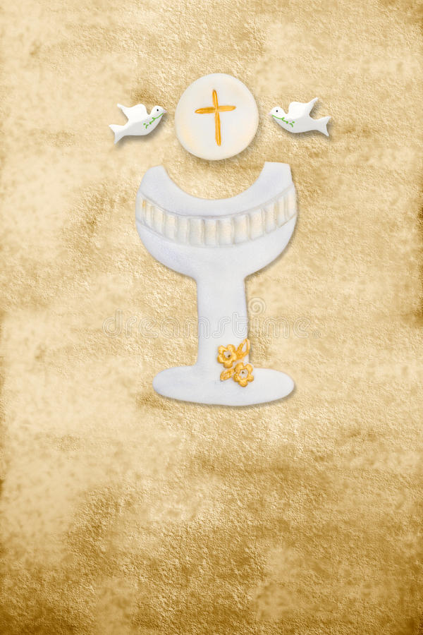 First communion card vertical parchment chalice royalty free illustration
