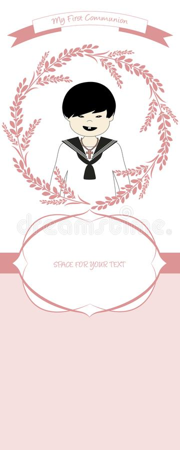 First communion celebration reminder. Cute boy wearing communion suit surrounded by flower wreath. royalty free illustration