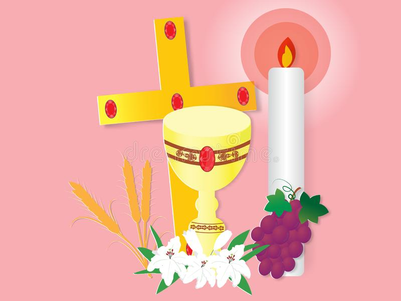 Greeting card with first communion vector illustration