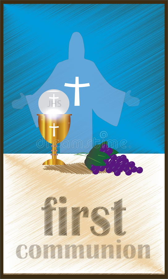 The First Communion, or First Holy Communion vector illustration