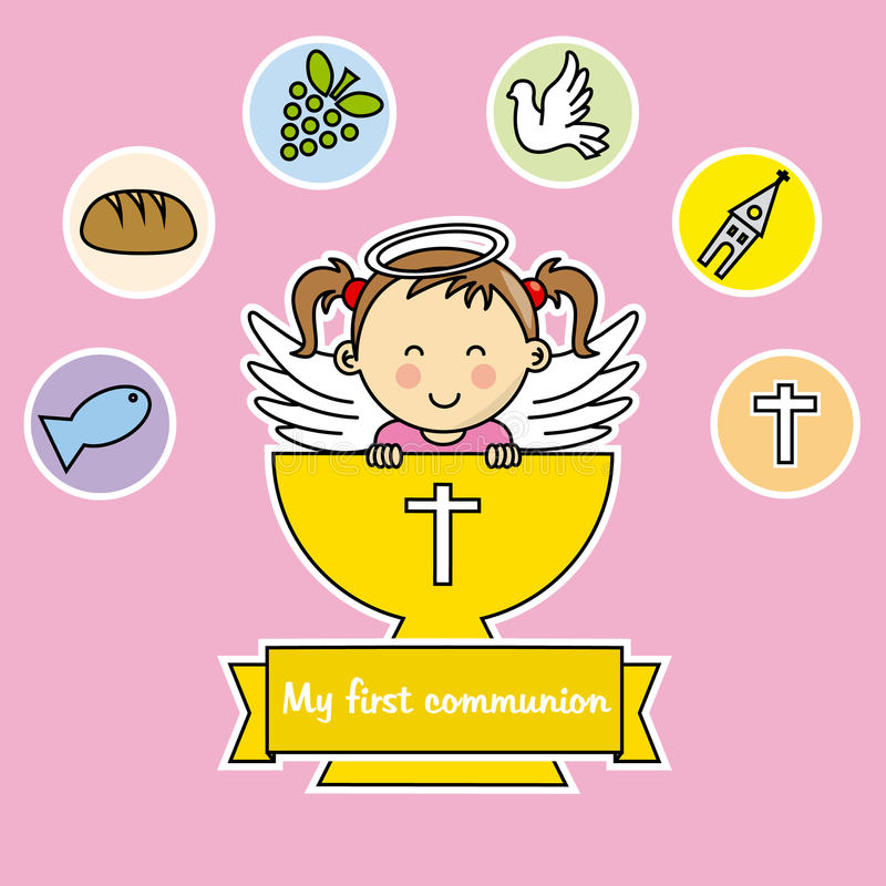 First communion girl. Girl with calyx and religious icons stock illustration