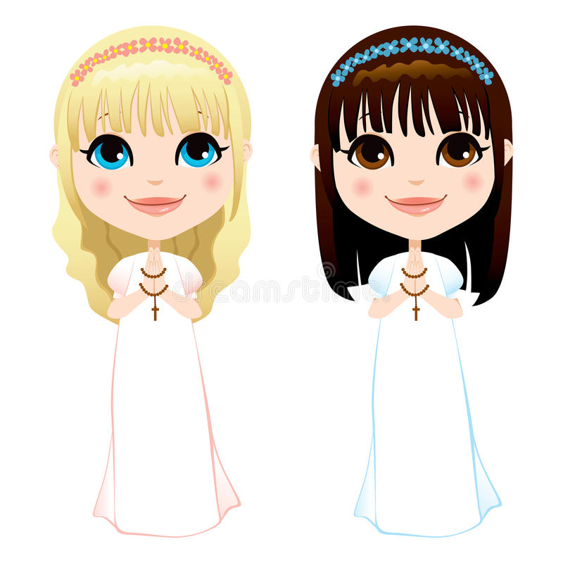 First Communion Girls vector illustration