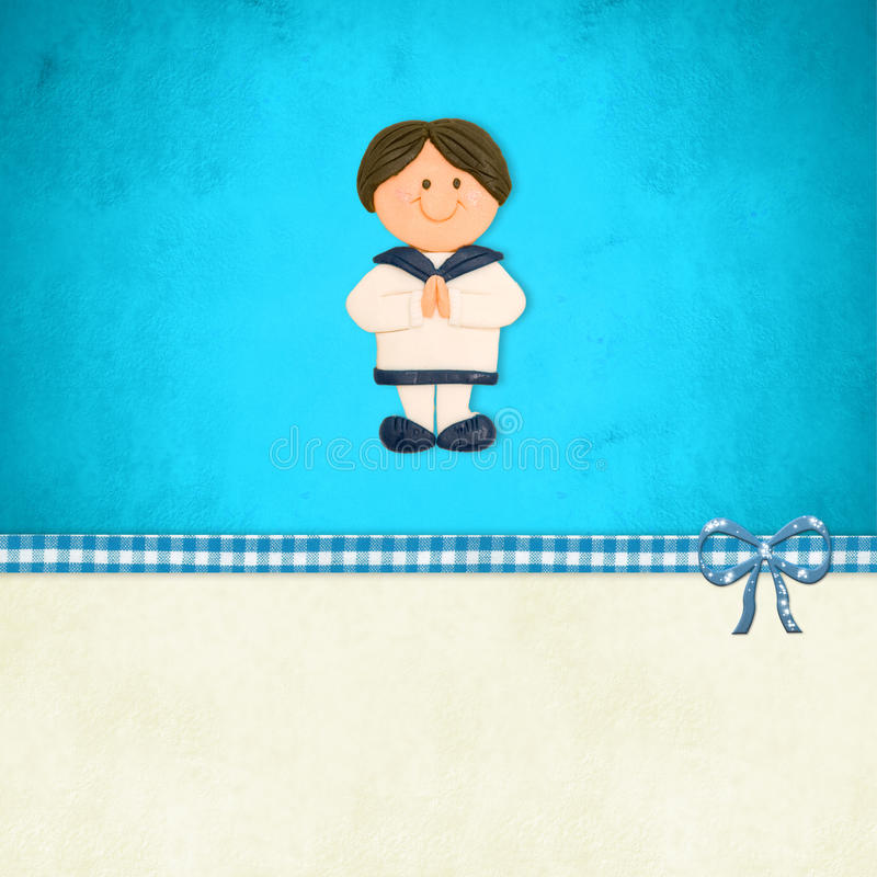 First Communion invitation, boy sailor suit royalty free illustration