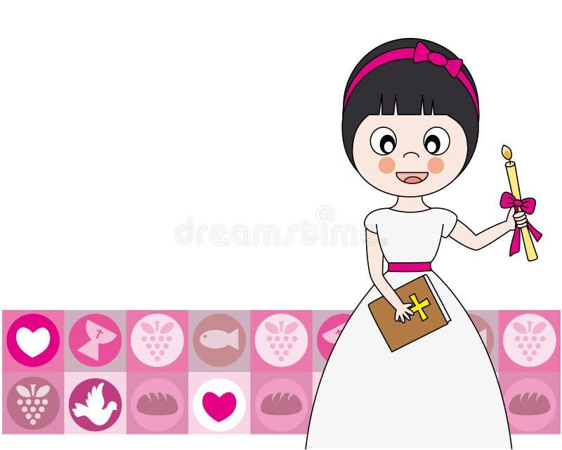 First Communion. Invitation Card. Girl royalty free illustration