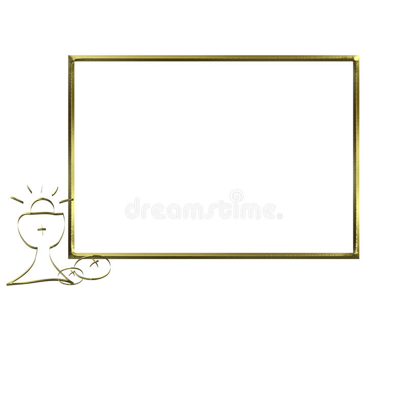 First Communion Invitation gold chalice photo frame. First Communion Invitation gold chalice, golden photo frame isolated on white background and copy space for vector illustration