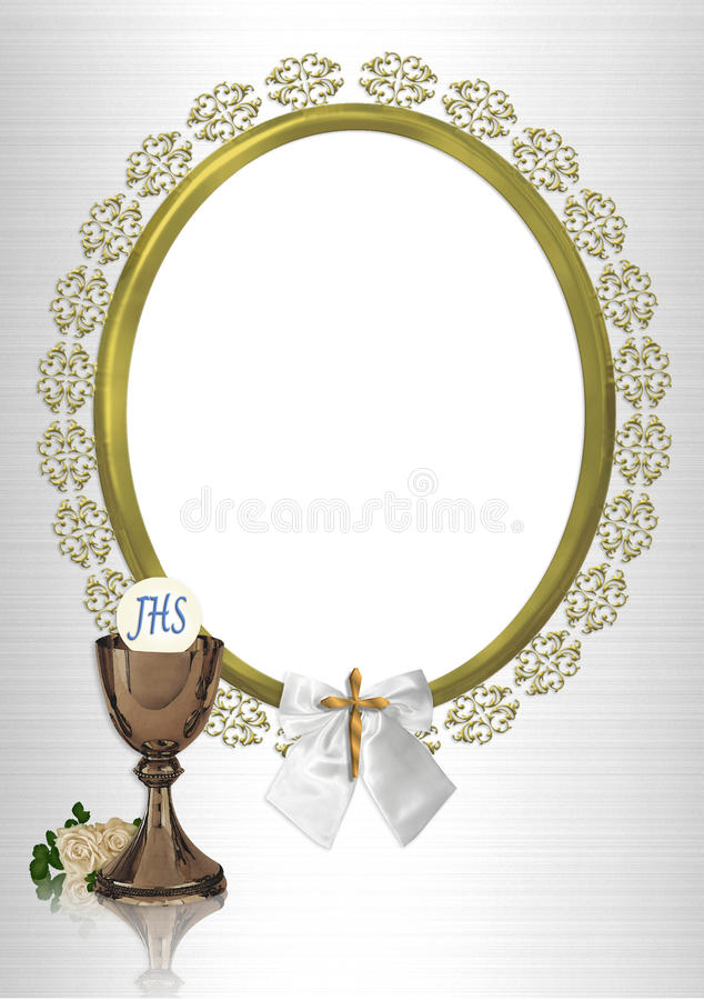First Communion oval photo frame stock illustration